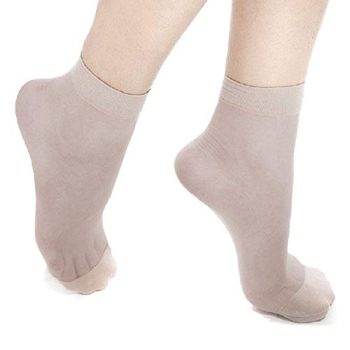 Ladies Pure Color Stretchy Sheer Ankle Socks 10-Pair Pack