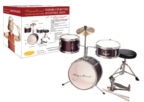 Review Spectrum AIL 621R 3-Piece Junior Drum Set with 8-Inch Crash Cymbal and Drum Throne, Rockstar Red