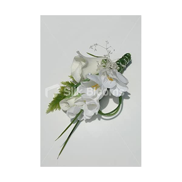 Real Ivory Rose & White Freesia Wedding Magnetic Bag Corsage