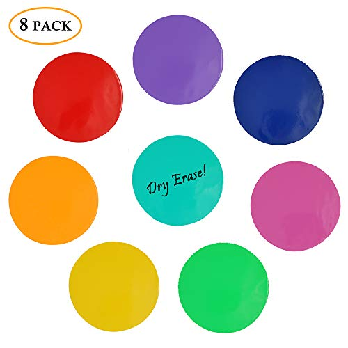 Colorful Dry Erase Dots Circles Whiteboard Marker Removable Vinyl Stickers Wall Decal Spots for Dills & Training School Teaching Progress Classroom Students' Table & Desk
