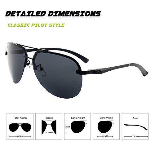 GQUEEN Premium Noir Spring Gris polarisées Mg Al soleil Hinges MOS1 de Pilote lunettes 2 rrHndqw