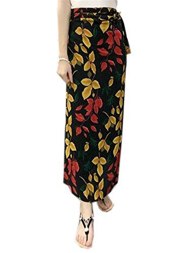 Haililais Femme Jupe en t Vintage Jupe Longue Imprimer Floral Vogue Jupe De Plage Lacets Jupe Mousseline ElGant Skirt Glamour Jupe Yellow6
