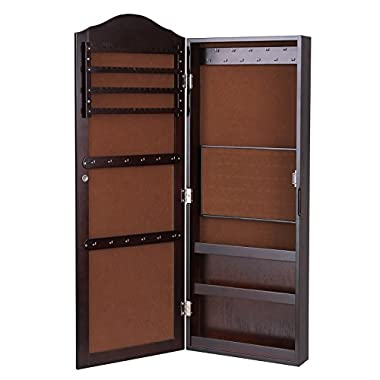 SONGMICS Wall Mount Mirrored Jewelry Cabinet Makeup Armoire Storage Organizer Real Glass, Brown