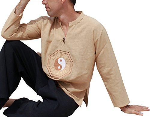 Raan Pah Muang RaanPahMuang China Collar Soft Cotton Embroidered YingYang Shirt, Medium, (Embroidered Cotton Chino)