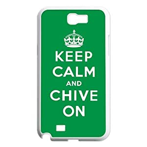 KCCO Chive On Samsung Galaxy Note 2 N7100 Case Keep Calm And Chive On White Green Cases Cover at abcabcbig store