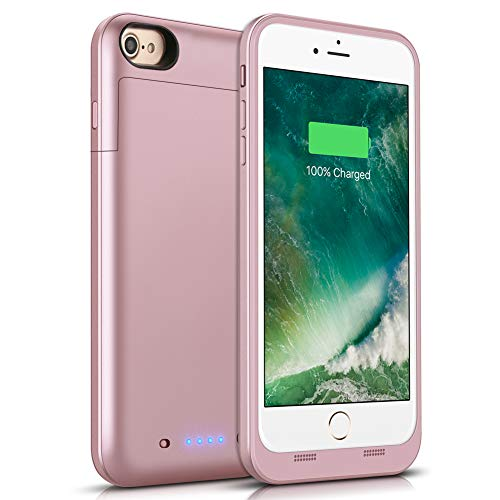 iPhone 6/6S Battery Case 3800mAh, Gasopic Extended Slim Rechargeable Charger Case External Battery Pack Portable Power Bank Protective Charging Case Cover for iPhone 6S, 6 (4.7inch)-Rose Gold