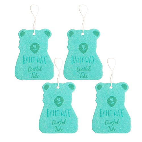 Happy Wax Scented Hanging Car Cub Air Freshener - Beach Scented Car Freshener Infused with Natural Essential Oils! - Cute Car Freshener 4-Pack (Coastal Tide) (Air Lemon Tropical Freshner)
