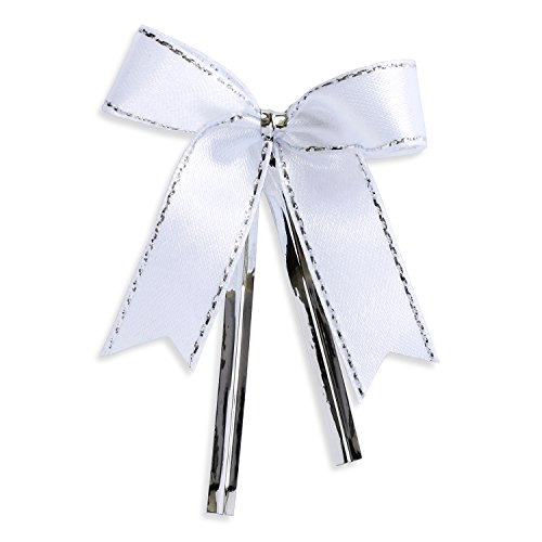 Ribbon Bows with Twist Ties (100 Pieces) - Medium Size: 2 Inches - Made of High Quality Satin Ribbon - Great for Bakery Bag, Cello Bag, Lollipop, Cake Pop and Wedding Favor (White and Silver)