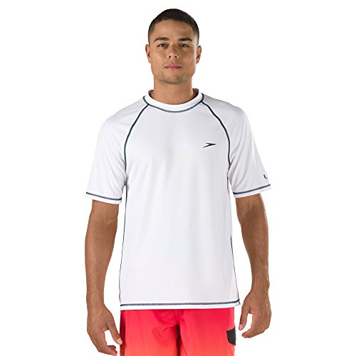 (Speed Men's Short Sleeve Easy Rash Guard Swim Shirt with UV and UPF 50+ Protection, White, L)