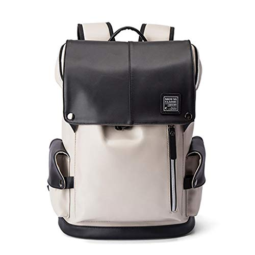 - USB Charging 15In Laptop Backpack Men PU Leather Backpacks For Teenager Casual Daypacks White