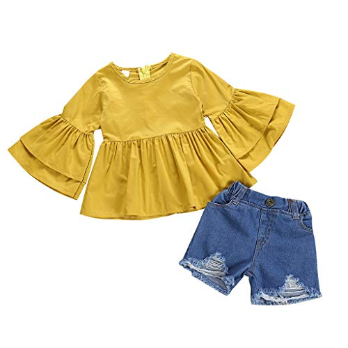 ❤Ywoow❤ for 0-3 Years Old Girls Clothes Sets, Girls Summer Outfits Set Kids Baby Ruffled Trumpet Sleeves Top + Denim Shorts 2PC Outfits Set (Yellow, 6-12 Months) ()