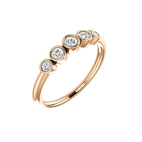 Bonyak Jewelry 14k Rose Gold 1/4 CTW Diamond Graduated Bezel-Set Ring - Size 7