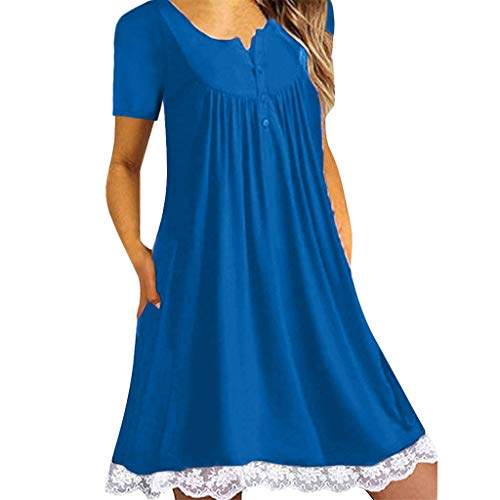 - HebeTop ✰ Womens Fashion Short Sleeves Dress Lined with Lace Trim Blue