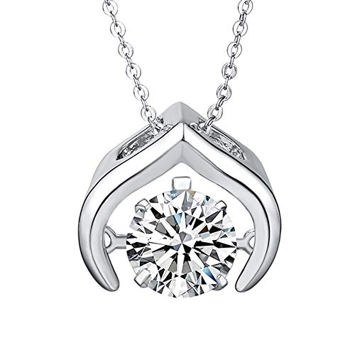 GuiiFan Pendant Necklace with a Sparkling Round Cut Swarovski Crystal Stone, Silver Pendant Necklace for Women with Valentine's Day Promise Engagement Wedding