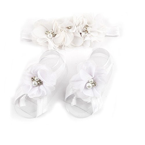 LD DRESS Baby Girl Foot Flower + Headband (White)