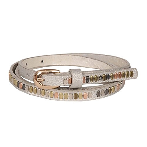Sunny Belt Women's Ultra Skinny Metallic Studded Faux Leather Belt with Petite Oval Buckle Small