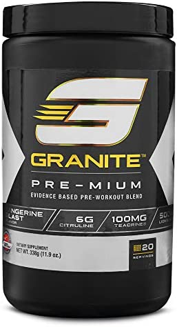 Pre-Workout Powder by Granite Supplements 20 Servings of Pre-Mium Watermelon Burst to Maximize Strength, Energy, and Mental Endurance Includes Performance, Pump, and Cognitive Blends