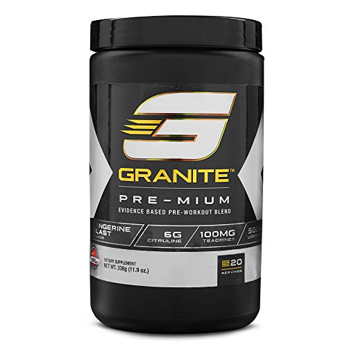 Pre-Workout Powder by Granite Supplements | 20 Servings of Pre-Mium Tangerine Burst to Maximize Strength, Energy, and Mental Endurance | Includes Performance, Pump, and Cognitive Blends