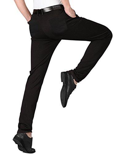 Stretch Dance Pants - ETHANOL Mens Stretch Slim Straight Wrinkle Resistant Dress Pants APL47288SK PK1 Black 32