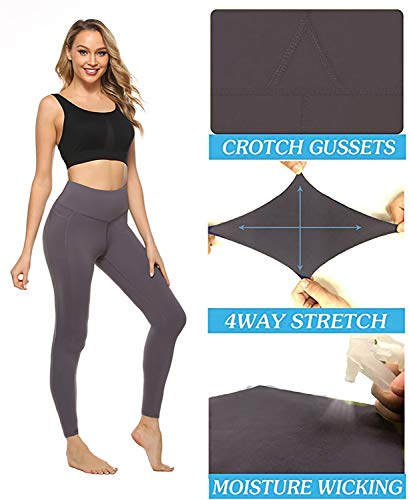 VOEONS Yoga Pants for Women High Waisted Tummy Control Spandex Exercise Running Athletic Leggings with Pockets Womens Workout Pants Dusty Grey