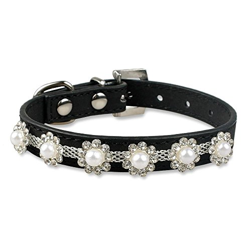 Neonr Handmade Pearl Rhinestone Dog Cat Collar Dogs Cats Chain Cattle Cashmere Leather Collars.(Black)