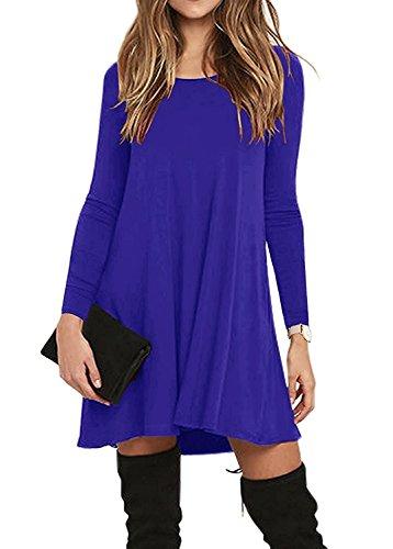 de de Azul Vestido Manga Oscuro Vestido Mujer O con Casual de Camiseta Fiesta Noche Bolsillos Talla Cuello Loose Grande Larga F6BXUwpq
