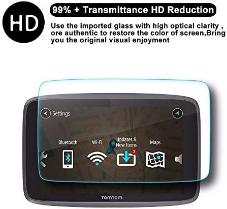 XHULIWQ スクリーンプロテクターナビゲーションスクリーン9H硬度強化ガラススクリーン保護フィルム、TomTom Go 620 6200 6250 6inch用