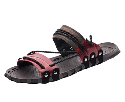 de Sandalias de Hombre Zapatilla 1 Para Playa Cuero Rojo Insun q45nS
