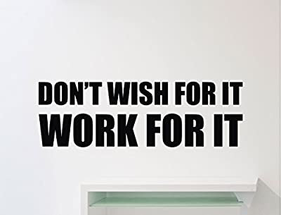 Ditooms Gym Motivational Wall Decal Don'T Wish For It Work For It Quote Fitness Vinyl Sticker Sport Workout Inspirational Art Decor Mural