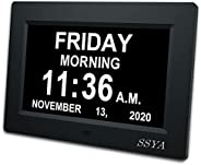 SSYA [Newest Version] Day Clock - 12 Alarm Options, Level 5 Auto Dimmable Display,Extra Large Impaired Vision