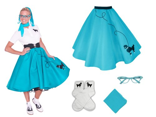 Hip Hop 50s Shop Adult 4 Piece Poodle Skirt Costume Set Teal (Halloween Poodle)