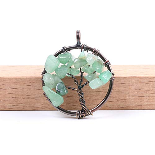 7 Chakra Reiki Healing Tree Of Life Pendant For Necklace Vintage Antique Copper Color Natural Stone Chip Bead Jewelry F084 Green Aventurine