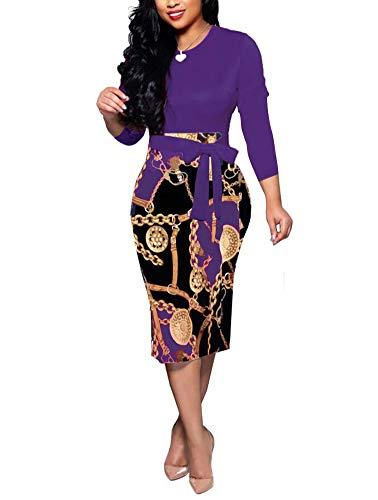 Floral Dresses for Women - Cute Bowknot 3/4 Sleeve Bodycon Pencil Dress Purple XX-Large