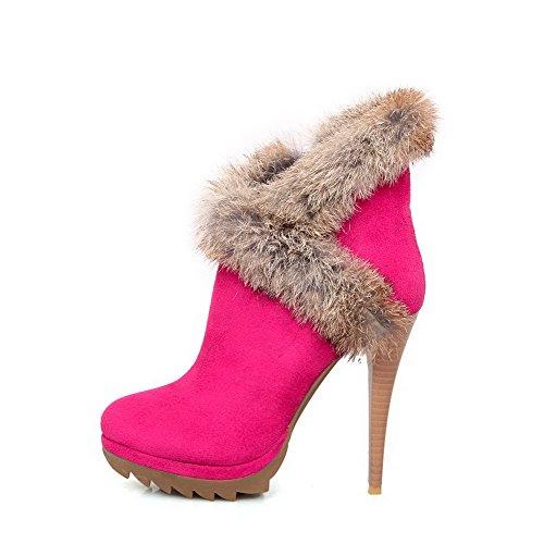 Allhqfashion Femmes Chaînes Round Toe Bout Fermé Talons Hauts Matériaux Low-top Boots Rosered