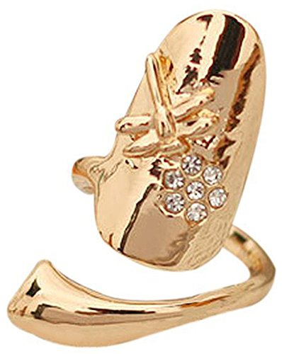 RoseSummer 2X Gold/Sliver Personalized Dragonfly Flower Shiny Rhinestone Finger Tip Nail Ring