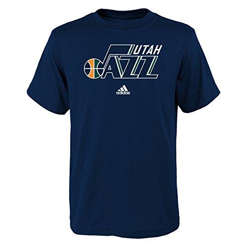 fan products of NBA Utah Jazz Boys Youth Full Primary Logo Short Sleeve Tee, Large (14-16), Navy