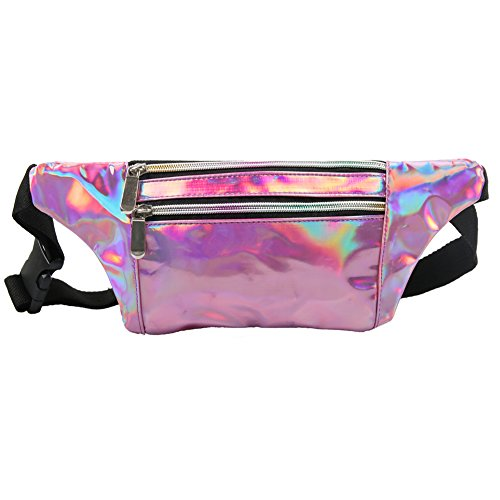MUM'S MEMORY Metallic Hologram Fanny Pack for Women and Men- Sport Waist Pack for Running, Hiking, Traveling, Camping, Partying, Jogging (Pink)