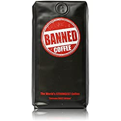 Banned Coffee | The Strongest Coffee in the world | Hyper Strong Caffeinated All Natural Ideal for Cold Brew | Our Best Medium Dark Roast (10 oz Ground) | Medium Dark Roast Ground Coffee 10 Ounces Bag