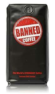 Banned Coffee Ground World's Strongest Coffee - Our Best Super Strong Medium Dark Roast (Ground, 1 lb)