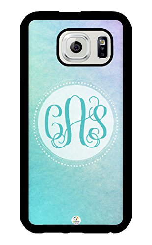 iZERCASE Samsung Galaxy S6 Case Monogram Personalized Gradient Overlay Simple Pattern Rubber CASE - Fits Samsung Galaxy S6 T-Mobile, AT&T, Sprint, Verizon and International (Black)