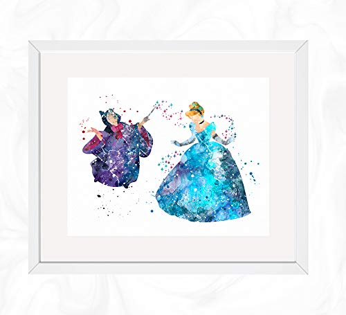 Cinderella and Fairy Godmother Prints, Cinderella Disney Watercolor, Nursery Wall Poster, Holiday Gift, Kids and Children Artworks, Digital Illustration -