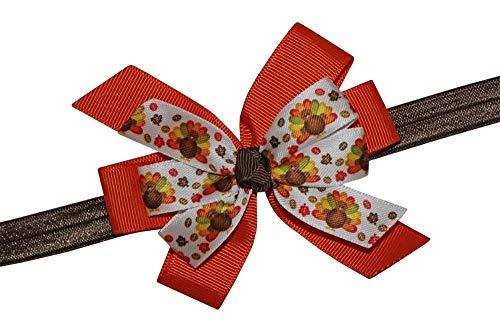 WD2U Girls Colorful Satin Turkey Thanksgiving Harvest Hair Bow Stretch Headband