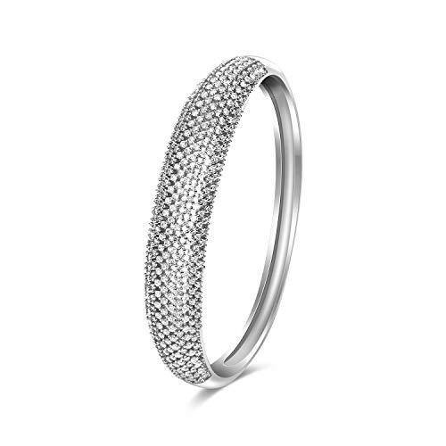 CILILI Fashion Cuff Bangle Bracelet with Swarovski Crystal Rhinestones for Women (Round - Swarovski Round Bracelets