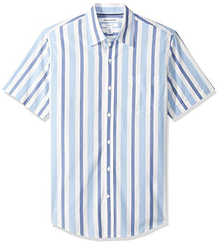Stripe Classic Mens Shirt (Amazon Essentials Men's Slim-Fit Short-Sleeve Stripe Shirt, Blue/White, X-Large)