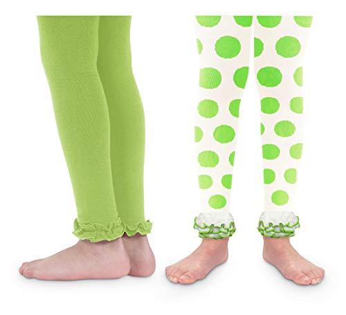 Jefferies Socks Girls Christmas Polka Dot Ruffle Footless Dress Up Tights 2 Pack (2-4 Years, Lime/Lime Dot)