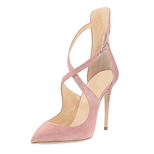 EKS - Zapatos de vestir de Material Sintético para mujer Pink-Faux Wildleder