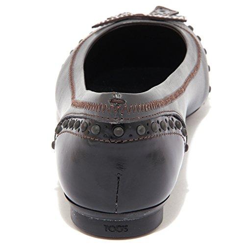 Tod's 76894 Vintage Shoes Bucature testa Women Donna Ballerina Scuro Grigio Di Moro Dew AT0rqwx04t