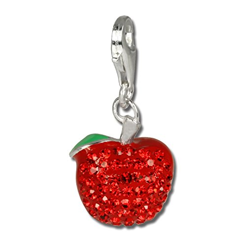 (SilberDream Glitter Charm apple with red Czech crystals 925 Sterling Silver Charms Pendant for Charms Bracelet, Necklace or Earring GSC512R)