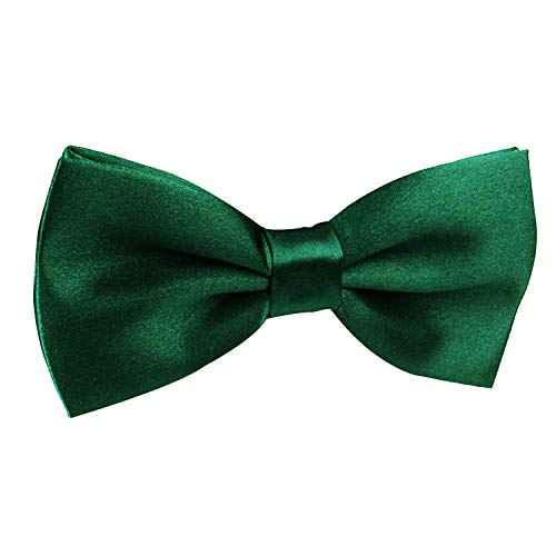 Men's Pre-Tied Adjustable Length Solid Color Tuxedo Bow Tie, Dark Green ()