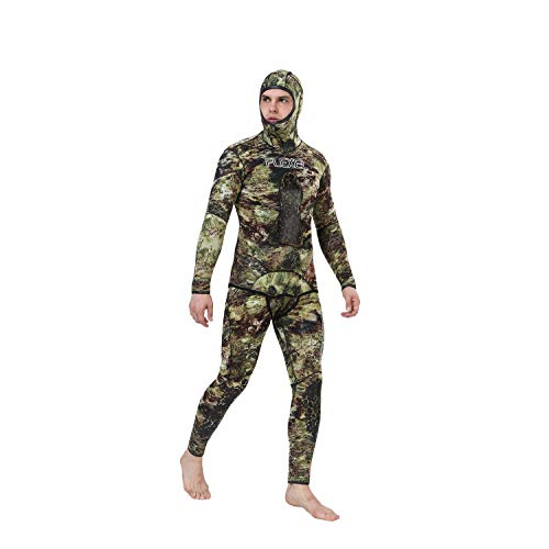Flexel Camo Spearfishing Wetsuits Men Premium Camouflage Neoprene 2-Pieces Hoodie Freediving Fullsuit for Scuba Diving Snorkeling Swimming (7mm Grass camo, 3X-Large) by Flexel (Image #6)